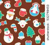 gingerbread seamless pattern | Shutterstock .eps vector #532798453