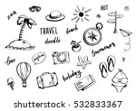 set of hand drawn travel doodle....