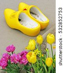 Yellow Wooden Shoes   A Pair O...
