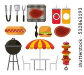 barbecue grill icons over white ... | Shutterstock .eps vector #532863193