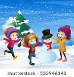 children playing in the snow... | Shutterstock .eps vector #532946143