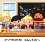children study in classroom... | Shutterstock .eps vector #532951543