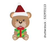 cute bear christmas with present | Shutterstock .eps vector #532955113
