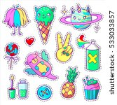 cool stickers set in pop art... | Shutterstock .eps vector #533033857