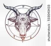pentagram with demon baphomet.... | Shutterstock .eps vector #533043433