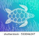 sea turtle in line art style....   Shutterstock .eps vector #533046247