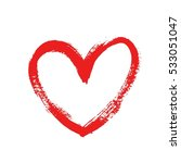 hand drawn red heart isolated... | Shutterstock .eps vector #533051047
