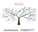 winter tree with snow and birds ... | Shutterstock .eps vector #533056777