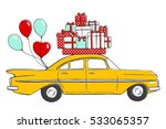 vintage taxi. retro car with... | Shutterstock .eps vector #533065357