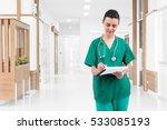 nurse writing a medical record... | Shutterstock . vector #533085193