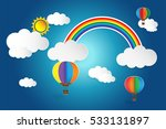 origami balloon and rainbow... | Shutterstock .eps vector #533131897