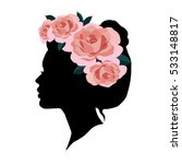 beautiful woman silhouette with ...