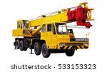Yellow Truck Crane  Isolated