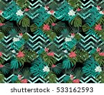 exotic seamless pattern with... | Shutterstock .eps vector #533162593