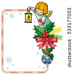 christmas frame with cute... | Shutterstock .eps vector #533177053