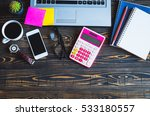 top view of stuff office or... | Shutterstock . vector #533180557