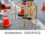 Orange Cones And A Ramp Over A...
