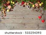 christmas wooden background ... | Shutterstock . vector #533254393