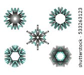 set of five abstract snowflakes ... | Shutterstock .eps vector #533263123