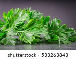 Parsley On A Gray Background.
