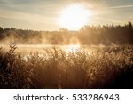 beautiful misty sunrise over... | Shutterstock . vector #533286943