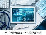white tablet pc and doctor... | Shutterstock . vector #533320087