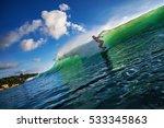 surfer girl riding ocean wave... | Shutterstock . vector #533345863