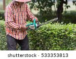 workman cutting a hedge with... | Shutterstock . vector #533353813
