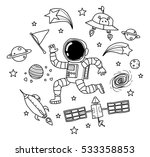 astronaut in the space doodle | Shutterstock .eps vector #533358853