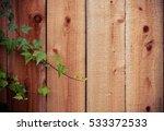 green ivy on wooden background  ...   Shutterstock . vector #533372533