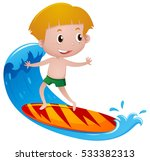 Boy On Surfboard Playing On Th...