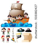 pirate set with kids on ship... | Shutterstock .eps vector #533382427