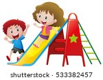 two kids playing on slide... | Shutterstock .eps vector #533382457