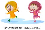 Two Girls In Raincoat Running...