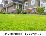 Nicely trimmed front yard with...