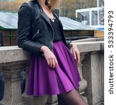 female skater skirt and leather ... | Shutterstock . vector #533394793