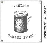 vintage sewing spool vector | Shutterstock .eps vector #533456197