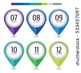 set of colorful map markers  ... | Shutterstock .eps vector #533457097