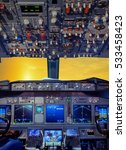 plane cockpit and orange sunset ... | Shutterstock . vector #533458423