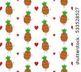 pineapple  vector seamless... | Shutterstock .eps vector #533528527