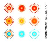 set of red and blue radial sun... | Shutterstock .eps vector #533533777