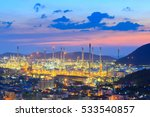 twilight of oil refinery  oil... | Shutterstock . vector #533540857
