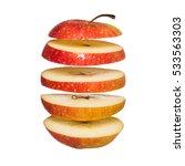 Flying Apple. Sliced Red Apple...