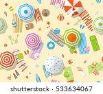 seamless pattern. sunny beach... | Shutterstock .eps vector #533634067