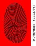 black fingerprint on a red...   Shutterstock .eps vector #533637967