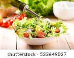 cooking salad. olive oil... | Shutterstock . vector #533649037