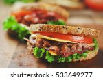 bacon sandwich for meal | Shutterstock . vector #533649277