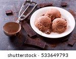 Stock photo plate of chocolate ice cream scoops on dark background 533649793