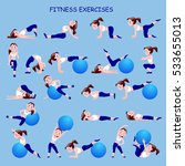 fitness exercises with cartoon... | Shutterstock .eps vector #533655013