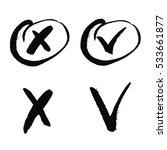 black cross and tick grunge set ...   Shutterstock .eps vector #533661877